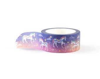 Wide Dreamy Night Horses Washi Tape - scrapbooking decorative masking tape, 10 meter, littleleftylou