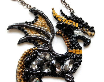 Black Dragon-necklace handmade from stones, pearls and beads.