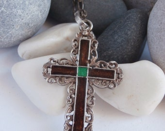 Large Cross Pendant - Vintage Necklace - Sterling Silver Cross Necklace