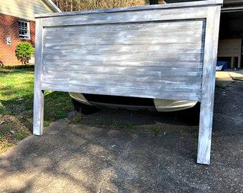Distressed Planked Wood Headboard / Reversible / Barnwood + Gray/ Fixer Upper Style / King headboard / Queen Headboard /Faux/ Reclaimed Wood