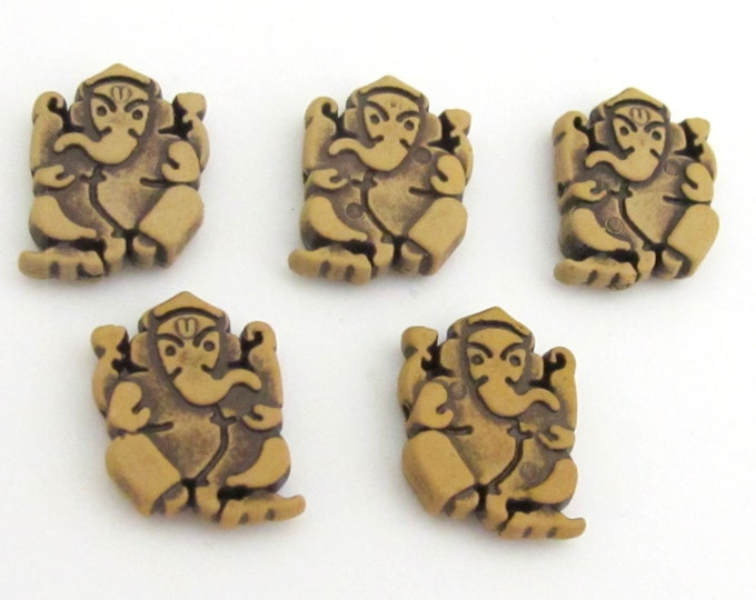 5 Beads - Reversible Light weight acrylic antiqued brown color Ganesha beads - BD661