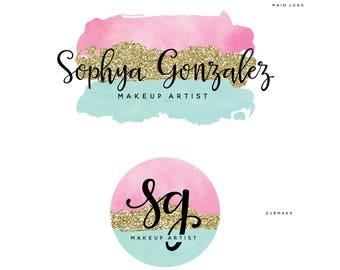 Maquillage, Logo de l'artiste, aquarelle de paillettes & Calligraphie, Logo moderne, parfait pour votre entreprise!