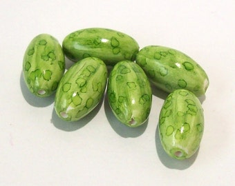 Polymer Clay Bright Green Striped Beads with Green Dots - Handmade