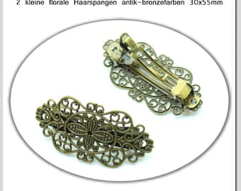 2 small floral hair clips Antique Bronze Colors 30 x 55 mm