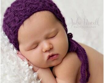 Knit Baby Bonnet, Alpaca yarn, Cable Bonnet, Newborn Photo Shoot Prop, by Cream of the Prop