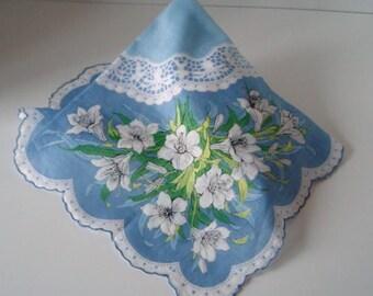 Blue Floral Handkerchief Vintage 1940's Lillies Large Hankie Hanky Ruffled Edge