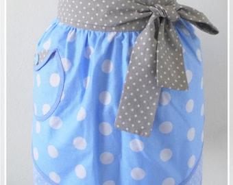 Blue apron Retro half apron Womens aprons Vintage apron Cute apron Kitchen decor Spring home decor Gift for woman