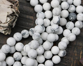 white howlite, 6mm round, smooth round, matte, white and gray, gemstone beads, sold as 1 strand, approx. 66 beads, nature beads,