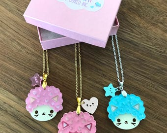 Afro Cat Layered Charm Necklace