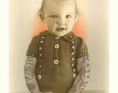 That's my boy: A3 print // Drawing on vintage photo // Tattoo design // Portrait // Boy // Baby