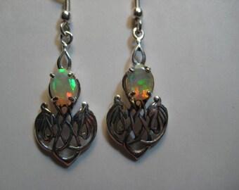 Ethiopian Opal Celtic Earrings .... Sterling Silver  .....................      e956