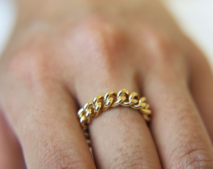 Chain Ring / Curb Link Chain Eternity Band Ring / Gold rings / silver rings / Simple stackable chain ring