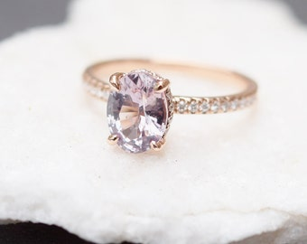 Blake Lively ring Moody Sapphire Engagement Ring oval cut 14k rose gold diamond ring 1.7ct White sapphire ring by Eidelprecious
