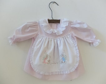 Vintage Pink Beatrix Potter Peter Rabbit Baby Girl Dress 12-18mo