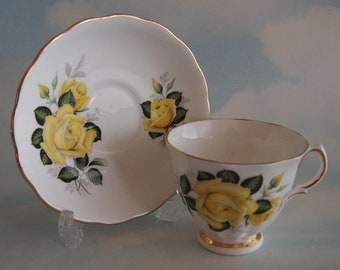 Colclough Yellow Roses Duo, Ridgway Potteries, Vintage Colclough Teacup and Saucer Set, Yellow Roses White Background & Gilt Trim, c1960's