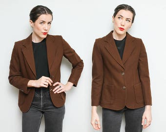 70s Brown Wool Blazer Jacket // 1970s Sears Espresso Brown Womens Size 6 Small