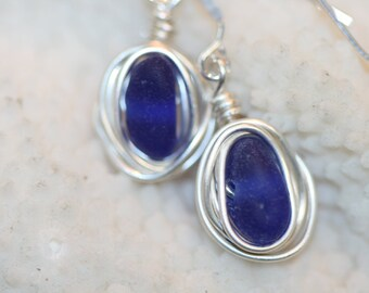 RARE dark blue beach sea glass 925 sterling silver wire wrapped dangling earrings