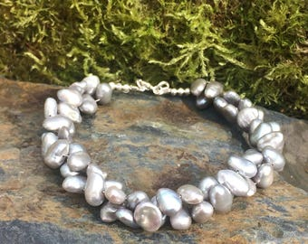 Silver Freshwater Keshi Pearl and Sterling Silver bracelet