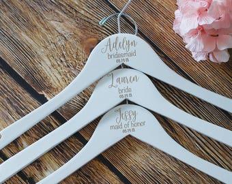 White Dress Hanger, Bridesmaid Hanger, Gift For Bridal Party, Flower Girl, Maid of Honor Dress Hanger, Personalized Bridesmaid Hanger,Hanger