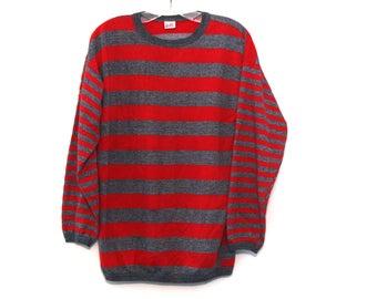 Vintage 80s sweatshirt striped heather gray red