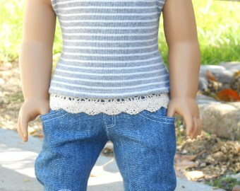 Gray/White Striped Tank Top w/ Lace for American Girl Dolls