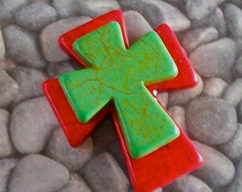 Large Stacked Red Stone Cross with Lime Green Stone Cross, Craft, Jewelry Supply