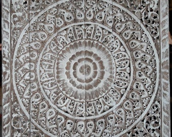 Große Naturweiß Altholz Teak Holz König Größe Bett Böhmischen Kopfteil  Lotus Mandala Sehnte Holz Schnitzen Kunst Panel Wand Home Decor Thai