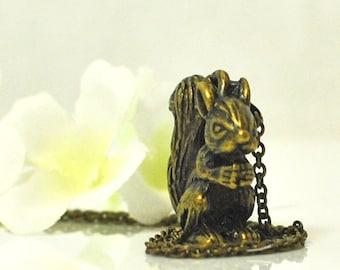 Bronze Squirrel Necklace Sparkles - Squirrel Pendant - Squirrel Jewelry - Woodland Animal - Nature Jewelry - Animal Jewelry - Forest Animal