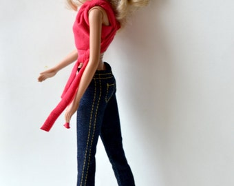 Jeans (yellow seam) - stretch jeans, fashion doll clothes, fashion doll jeans, yellow seam jeans