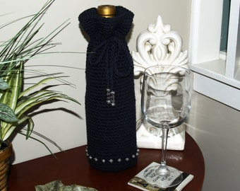 Wine Bottle Holder - Crocheted, Cozy, CUSTOM, CHOICE of COLORS, Cotton, Beads, Kitchen, Made to Order