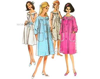 1960s Nightgown Pattern, McCall's 7539, Nighty and Button Robe Vintage Sewing Patterns, Uncut