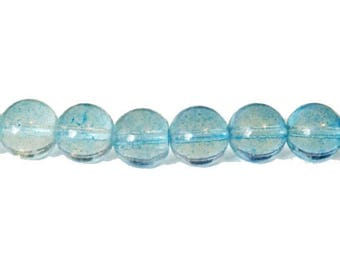 10 x 10mm blue sky speckled glass round beads