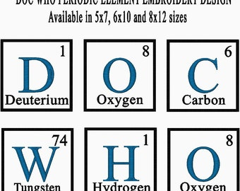 Doc who whovian periodic table element embroidery design available doc who periodic table element embroidery design available in 5x7 6x10 and 8x12 urtaz Choice Image