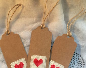 Cross Stitched Heart Gift Tags