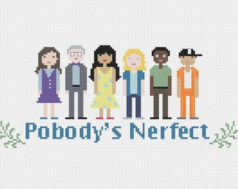 The Good Place - Pobody's Nerfect - Pixel Characters - Cross Stitch PDF - Pattern Instant Download