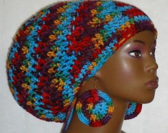 New Fiesta Crochet Large Tam Hat with Drawstring and Earrings Dreadlocks Rasta Tam by Razonda Lee Razondalee