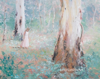 Landscape painting, Australian impressionist landscape art, paintings of trees, gum trees, Etsy art, living room art, Jan Matson