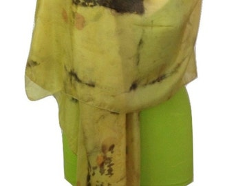 Hand Made Scarf, Eco Print, Women Scarf, Yellow Silk Scarf, Fashion Accessories, Scarves and Wraps, Oversized Scarf, Wearable Art, Art Scarf