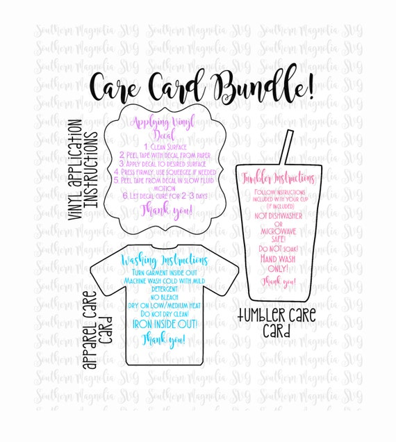 Care Card Instructions BUNDLE Apply Vinyl Decal Print and