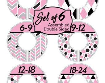 Pink Black Custom Closet Dividers Baby Girl Nursery Gift