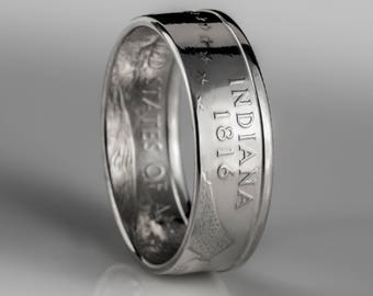Indiana Quarter Ring - Coin Ring - Silver (.900)