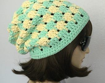 Women Crochet Summer Hat Women Summer Slouchy Beanie in Natural Colors  Women Spring Hat