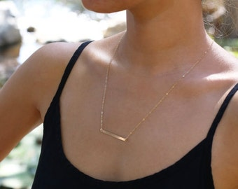 Horizontal 14K Gold Bar Necklace, Thin Gold Bar, Simple Gold Necklace, Modern Line Necklace, Bridesmaids Gift,  Delicate Chain, Straight