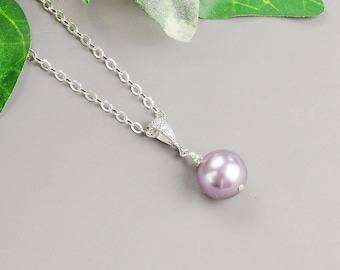 Purple Pearl Necklace - Silver Swarovski Pearl Bridesmaid Necklace - Mauve Lavender Pearl Bridesmaid Jewelry - Pearl Wedding Jewelry
