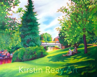 Original Painting, Summer Day in the Gardens