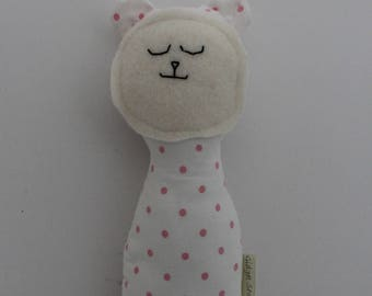 Rattle Plush Bear Toy Upcycled Toddler Infant Toy Handmade