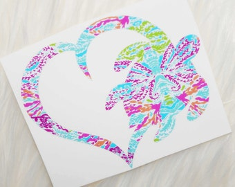 Sea Turtle Heart Vinyl Decal - Lilly Pulitzer Inspired