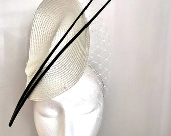 Black and White Headpiece with Birdcage Veil