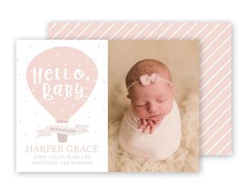 Girl Birth Announcement Template - 5x7 birth announcement template - Birth Announcements