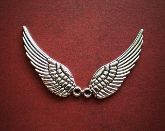 12 silver wing charms ange wingsl bird wing charms 10mm x 30mm (SR6)